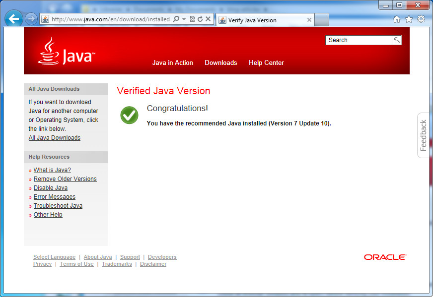 Java control panel.