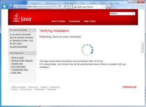 Wait while your Java version is verified...