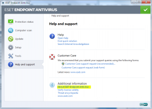 "Click the ""About ESET Endpoint Antivirus"" link in the main section of the window"