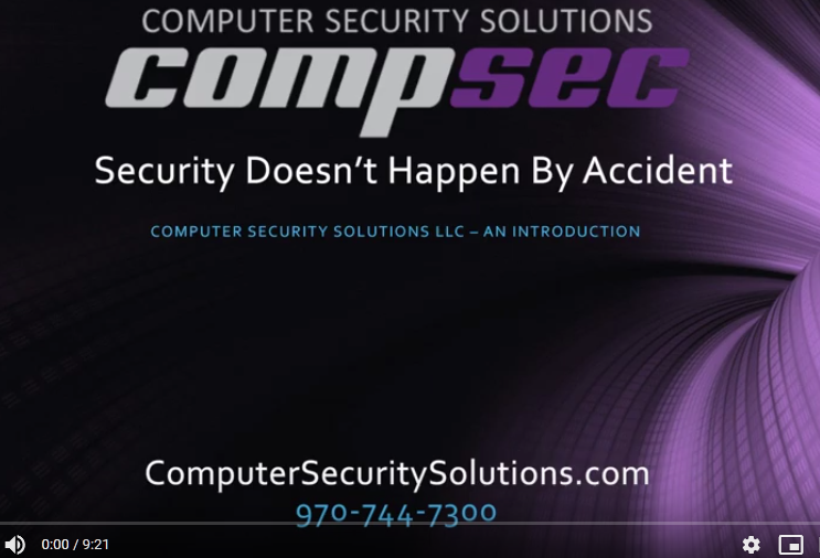 Security Doesn't Happen by Accident – an introduction to Computer Security Solutions